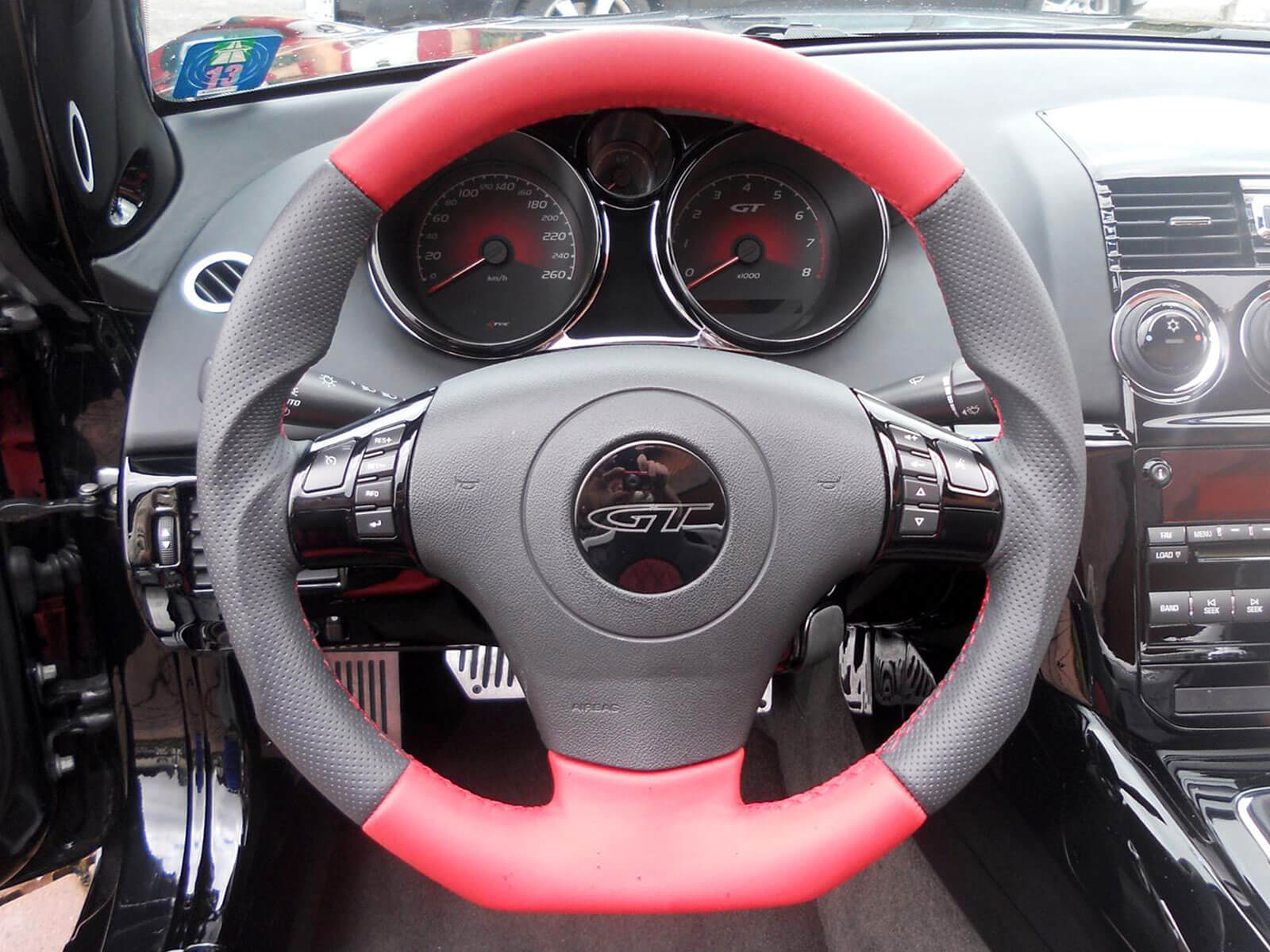 Kreis Tuning - Sportlenkrad in Leder in der Farbe Rot-Schwarzer