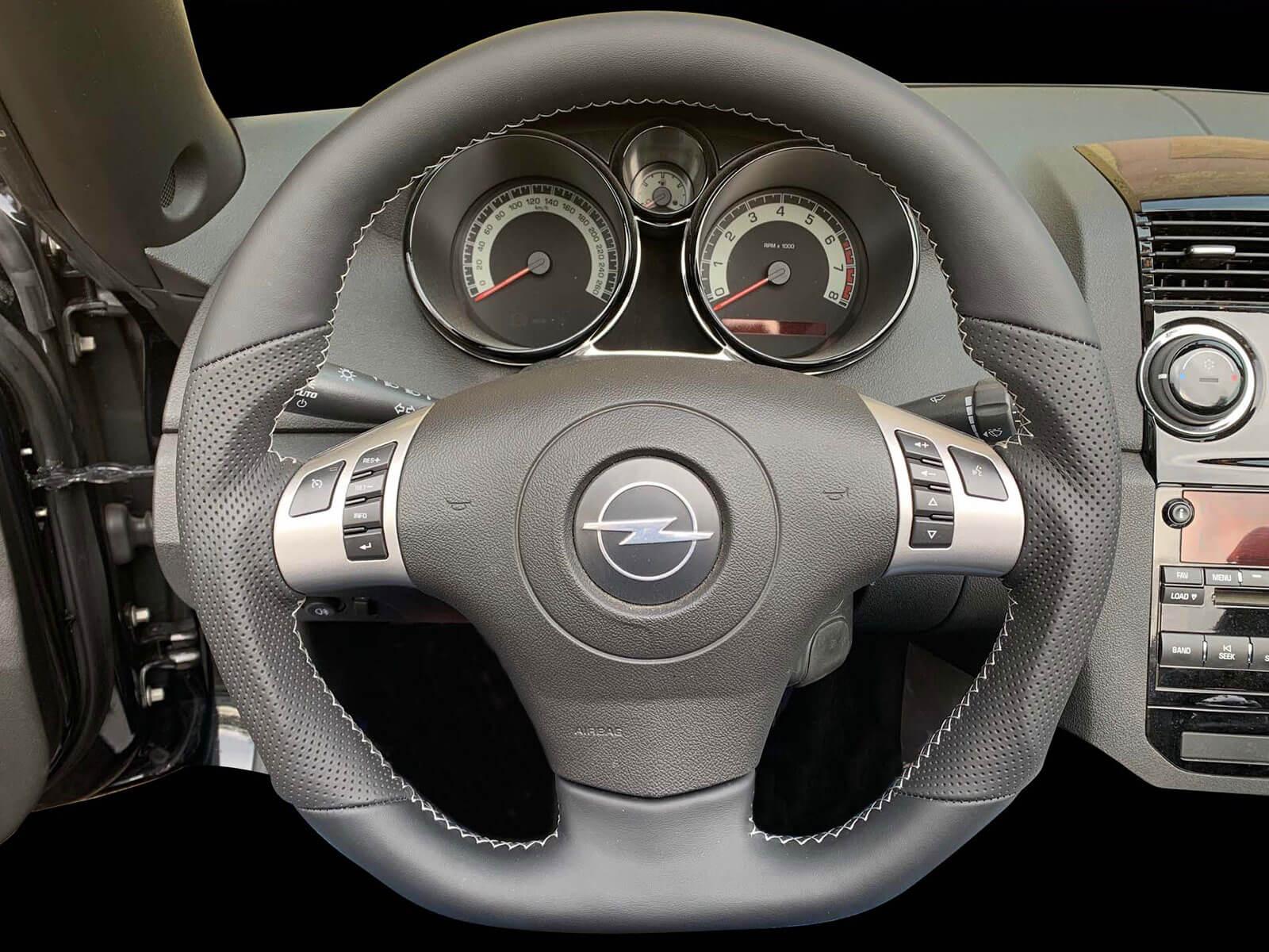 Kreis Tuning - Sportlenkrad in Leder in der Farbe Schwarz Opel GT